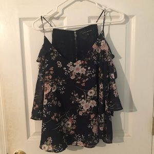 Navy floral cut out tank top, size L